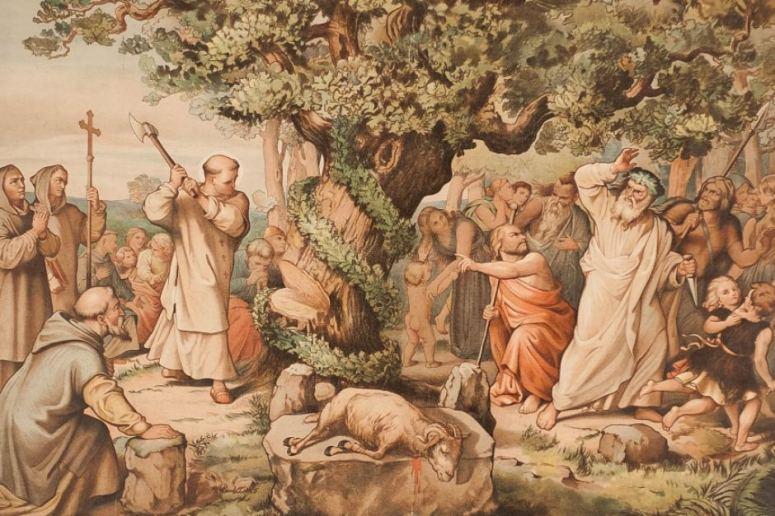 priest cuts down sacred pagan tree