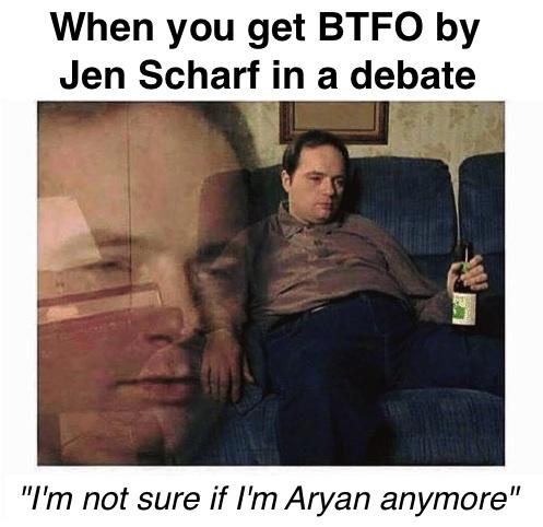 btfo jen scharf debate aryan